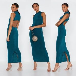 Nasty Gal Maxi Backless High Neck Dress & cut-out